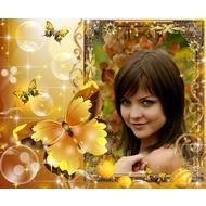 Фоторамка онлайн - Солнечные, золотистые бабочки