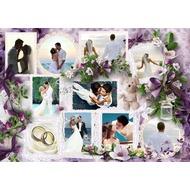 Коллаж для свадебных фотографий онлайн в сиреневых тонах на 10 фото